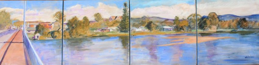 Moruya- sketch from the bridge (120x30cm)